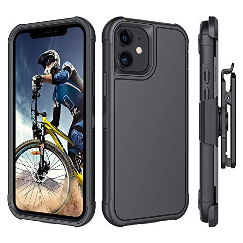 """BENTOBEN Compatible with iPhone 12 Case, iPhone 12 Pro Case, Heavy Duty [3 Layers] Shockproof Full Body Rugged Protective Case for iPhone 12 / Pro 6.1"""" 2020 with Kickstand Belt Clip Holster, Black"""