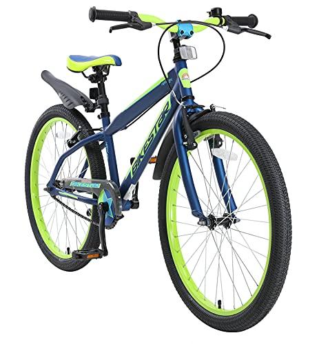"BIKESTAR Bicicletta Bambini da 9 Anni | Bici Bambino Bambina 24 Pollici Freno a Pattino e Freno a retropedale | 24"" VTT Edition Azul & Verde"