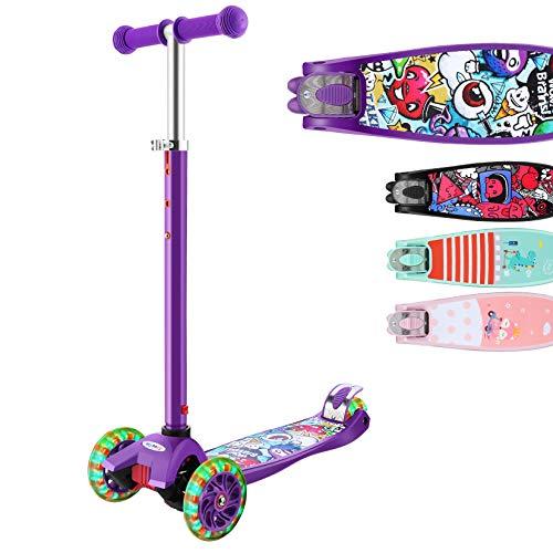 Hikole Tretroller mit 3 Rädern, für Kinder von 3 – 12 Jahren, zusammenklappbar, verstellbare Griffe, bis zu 110...