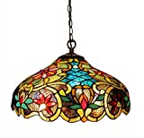 Chloe Lighting CH1A674VB18-DH2 Leslie Tiffany-Style Victorian 2-Light Ceiling Pendant Fixture, 12 x 18 x 18', Multicolor