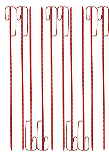 UvV 10 Stück 1,2 m lange Absperrhalter Laterneneisen rot zweckmäßig lackierte Absperrleinenhalter Stahl für Absperrband, Fangzaun, Warnband