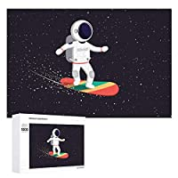 ジグソーパズル 木製パズル 1000ピース Puzzle ギャラクシー 宇宙飛行士 フライングボード おもちゃ 壁飾り 知育玩具 おもちゃ 壁掛け ギフト スジグソーパズル 減圧 誕生日 プレゼント インテリア 学生 子供 大人 75×50cm 収納ボックス付き