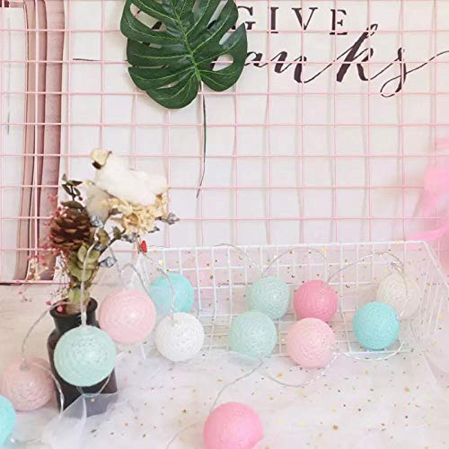 ZINSALE Fairy Lights LED String Lights Plug in Indoor - 3M 20 Pcs Cotton Ball String Lights Christmas Fairy Lights Starry Wall Light Wedding Party Home Christmas Decoration [Energy Class A+++]