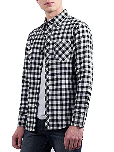 Sourcingmap Hommes Chic Occidental Point Col Motif Carreaux Boutonné Chemise en Flannelle Noir Blanc 48