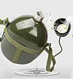 BlueSunshine Full Military Aluminium Chinese PLA Type 87 Water Canteen Reinforced Nylon Belt Holster-Portable Hiking Camping Outdoor Water/Wine Bottles (Army Green) (2.5 L)