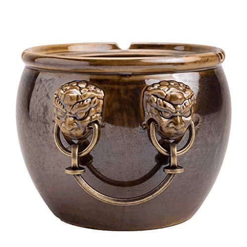 Zaza Ashtray cigar Cornucopia-shaped Ashtray Large-caliber Ceramic Ash Tray Forbidden City Lucky Jar-shaped Ash Holder Desktop Ornaments -4 Colors ashtray indoor (Color : Brown)