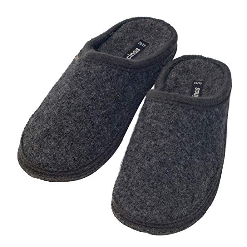 Japanwelt Filz-Hausschuhe Herren Anthrazit - warme Slipper Pantoffeln 100% Schafswolle Wollwalk Filzsohle 45/46