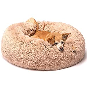 Friends Forever Coco Cat Bed, Faux Fur Dog Beds for Medium Small Dogs – Self Warming Indoor Round Pillow Cuddler, Small, Tan