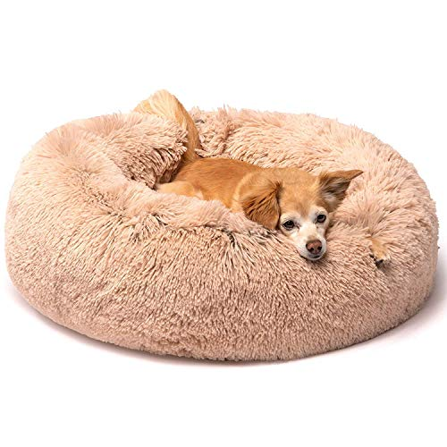 Friends Forever Coco Cat Bed, Faux Fur Dog Beds for Medium Small Dogs - Self Warming Indoor Round...