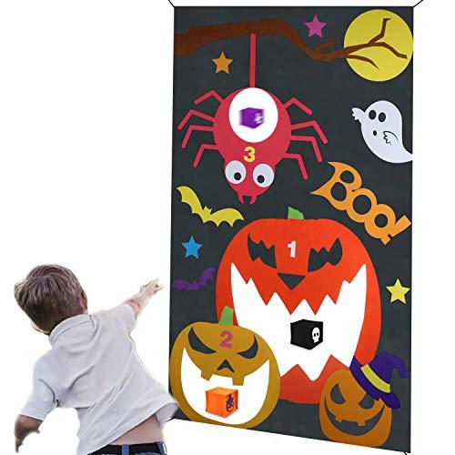 HOWAF Halloween Party Spiele wurfspiel für Kinder, Spinnenschläger Kürbis hängend werfen Spiel mit 3 Sitzsäcken Halloween Draußen Indoor Wurfspiele für Kinder Halloween Party Dekoration