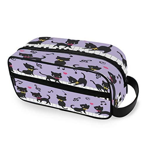 QMIN Tragbare Kulturtasche mit Katzen-Motiv, Klavier-Noten, Kulturbeutel, Kosmetiktasche, Make-up-Tasche für Jungen, Mädchen, Damen, Herren