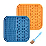 2 Pieces Dog Lick Pad with Suction Cup and Silicone Spatula, Pet Slow Feeder Mat Dog Bath and Fun Washing Distraction Device for Shower Grooming Bathing