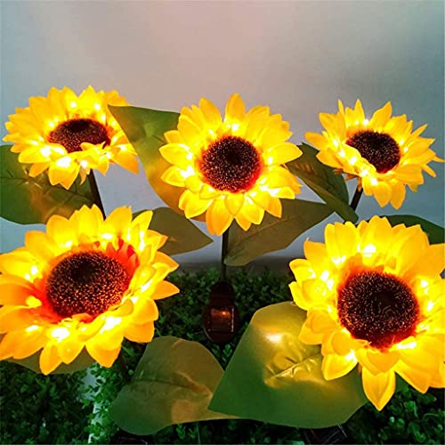 5 Paquete Luces solares al aire libre - Nuevas luces de jardín solar mejoradas, Luces de flores solares de girasol LED de cambio de color multicolor LED para patio Patio, Patio trasero