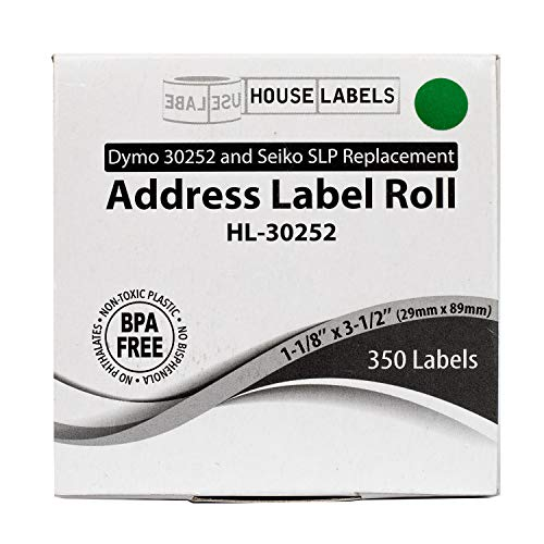"""HOUSELABELS Compatible DYMO 30252 Green Address Labels (1-1/8"""" x 3-1/2"""") Compatible with Rollo, DYMO LW Printers, 1 Roll / 350 Labels per Roll Photo #8"""