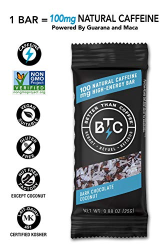 Better Than Coffee Energy Bars - Gluten Free, Vegan, Low Sugar, Low Carb with Added Plant...