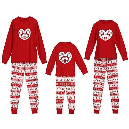 Snakell Nikolaus Pyjama Weihnachten Schlafanzug,Familien Outfit Langarm Pyjamas Nachtwäsche Xmas Deer Gedruckt Weihnachts Nachtwäsche Sleepwear Set Für Kinder Mama Dad Baby