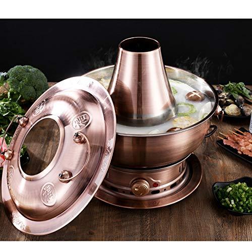 51Y5uxZUILL - Lamyanran Fondue-Fritteusen 4-6 Person 32cm Qualitäts-Knopf Kupfer Hot Pot Haushalt, reines Kupfer Stecker Altmodische Charcoal Old Beijing Shabu Hot Pot, leicht zu reinigen