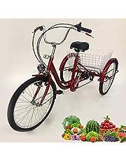 24 inch driewieler voor volwassenen, driewieler met 6 versnellingen, 3 wielen, fiets met mand en lamp voor senioren winkelen