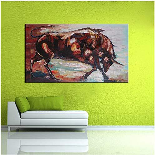 xiongda Moderne Kunst dekorative Bild gemalt abstrakte Tiere Stier Malerei auf Leinwand Wandbilder für Wohnzimmer Home Decor-24X32 Zoll ohne Rahmen