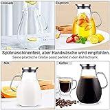 CNNIK Glas Krug, 2L Bleifrei Borosilikatglas Wasserkrug mit Deckel, Glaskaraffe für Heißes/Kaltes Wasser, Milch, Rotwein, Fruchtsaft, Kaffee und EIS Getränke - 8