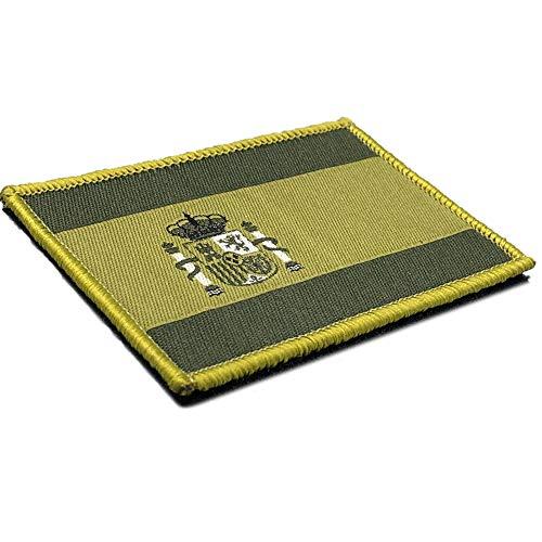 Parche Táctico Bordado Bandera España Adhesivo - Escudo bordado - Parche Verde Militar -75 x 50 mm
