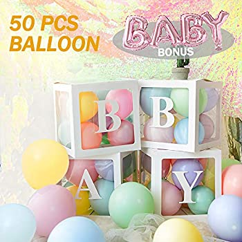 4-Pieces Touroam Baby Shower Decoration Balloon Box with Letter Baby