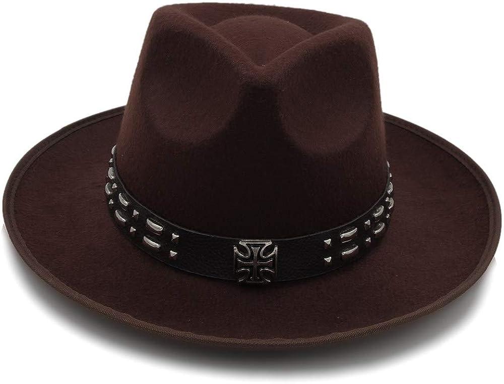 L.W.SUSL Wool Unisex Women's Wide-Brim Fedora Hat for Laday Men Woolen Panama Cap with Alloy Belt Jazz Church Hat Top Hats