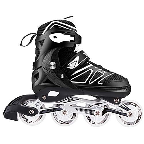 Inline Skates Maedchen Verstellbar Roller Blades Erwachsene Damen Herren LED Inlineskater Kinder Jungen Anfänger Sport Outdoor Fitness,Black-M(35-38)