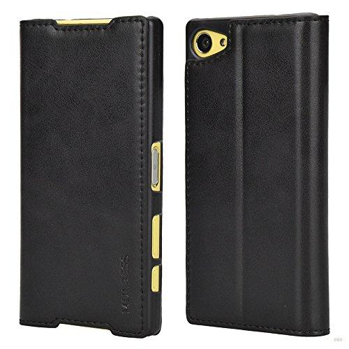 Mulbess Handyhülle für Sony Xperia Z5 Compact Hülle Leder, Sony Xperia Z5 Compact Handy Hüllen, Slim Flip Handytasche Schutzhülle für Sony Xperia Z5 Compact Hülle, Schwarz