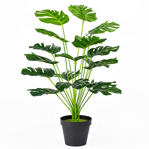 Zzhhoo Artificial Monstera Plants Leaves Living Room Home Decor,Small Faux Plant 22 in with Pots,Faux Plant Fake Palm Tree Leaf Decor Indoor Outdoor 18 Silk Leaves for Office Party Modern Decoration
