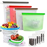 Hoomall Reusable Storage Bags Silicone Store Food,Produce Storage Bags,Stand Up Food Bags Set,Zip Lock,...