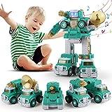 SUMXTECH Roboter Spielzeug,Montage Spielzeug ,Gebäude Spielzeug,5-in-1 Riesenroboter Spielzeug,DIY Roboter Militärlastwagen Set mit Lichtern und Schraubenzieher, für Kinder Jungen 3 4 5 6 7 8