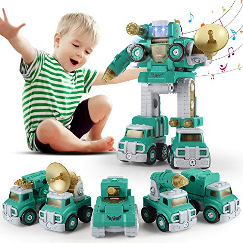 SUMXTECH Take Apart Toy,Car Toys,5-in-1 military Trucks Assemble into Giant Robot,Robot Vehicle Set with Screwdriver&Lights&Sounds, Construction Toy,Assemble Toys,STEM Learning Kit for Boys 3+
