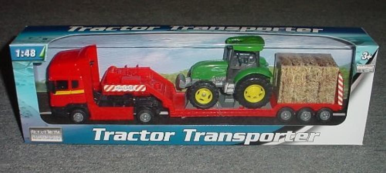 moda clasica Diecast Metal Tractor Tractor Tractor Transporter 1 48 Scale- rojo low loader with verde tractor (BT37) by Teama Juguetes  diseño simple y generoso