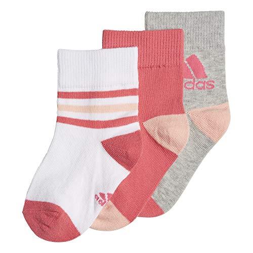 adidas Originals 3 paires Socquettes Enfant Blanc, Super Pink, Gris FR : S (Taille Fabricant : 27-30)
