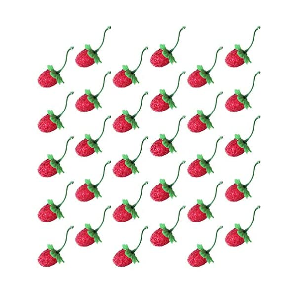 Toyvian 60pcs Artificial Strawberry Fake Lifelike Fruit Strawberries Photography Prop for Home Kitchen Holiday Party Ornament