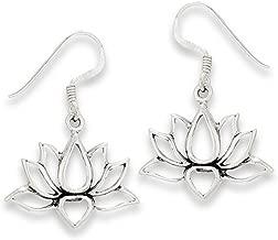 .925 Sterling Silver Open Lotus Flower Dangle Wire Earrings