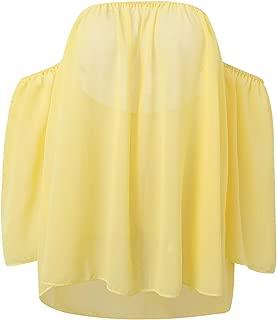 MINXUAN Women's Solid Color Off-Shoulder Chiffon Top