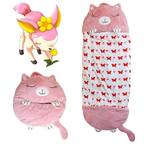 Kinderschlafsack-Cartoon-Tier, kann 2-in-1-Spaßkissen in Schlafsäcke verwandeln, groß für Kinder unter 12 Jahren, kann für Reisen im Freien und Nickerchen verwendet werden (Große rosa Katze,155*50cm)