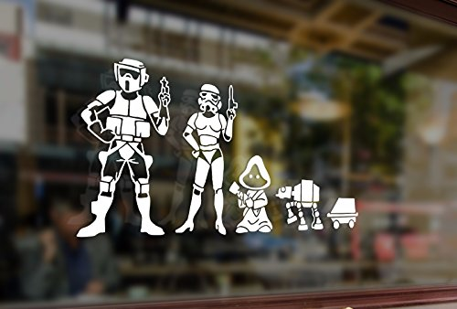 25 Centimeters Star Wars Fun Family Stick Figure Dad Mom Children Waterproof Vinyl Stickers Funny Decals Bumper Car Auto Computer Laptop Wall Window Glass Skateboard Snowboard