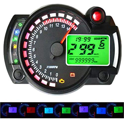 WyaengHai Snelheidsmeter, draadloze motorfiets-afstandsmeter, instelbaar, waterdicht, LCD-digitale snelheidsmeter, 12V 15000 rpm