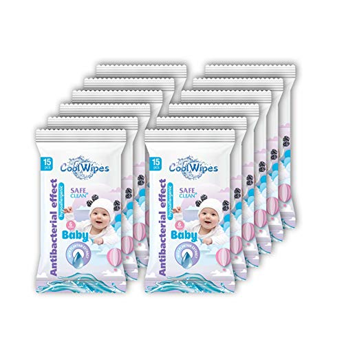 Sanitizing Wipes - Set of 12 Travel packs CoolWipes Baby Wipes with Plantain extract | Sanitizing, Moisturizing & Hypoallergenic Cleaning Wipes for Hands & Full Body | 180 pcs total (Baby Wipes)