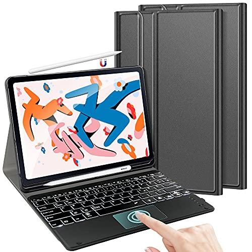 TASTATUR Teclado retroiluminado compatible con iPad Pro 12.9 con Trackpad, (QWERTZ) para iPad Pro 12,9 pulgadas 2021/2020, color negro