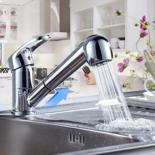 Auralum Rubinetto Cucina con Doccetta Estraibile, Rotazione di 360°, Miscelatore per Acqua Calda o Fredda, Funzione Pioggia e Funzione Flusso