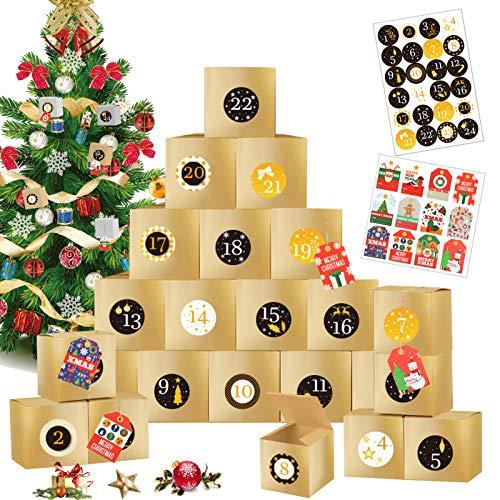 Sunshine smile 24 Avvento Calendario Avvento,24 Scatole Regalo di Natale,Calendario Avvento Fai da Te,Scatole Calendario dell'avvento,Scatole Regalo di Natale,Scatole in Carta Regalo (C)