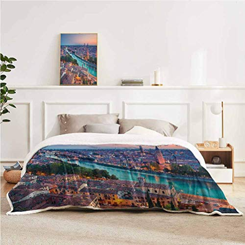 """YUAZHOQI European Throw Blanket for Couch Sofa Verona Italy During Summer Sunset Blue Hour Adige River Medieval Historcal Home Decor Perfect for Couch Sofa Beds 60"""" x 80"""" Aqua Coral Green"""