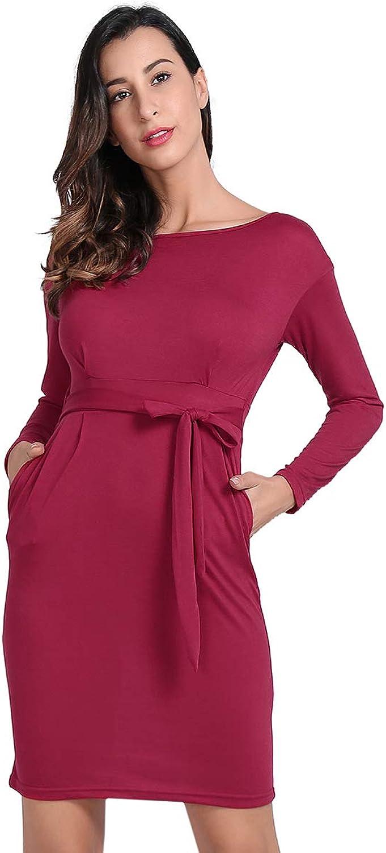 JTANIB Women's Elegant Long Sleeve Wear to Work Casual Pencil Sheath Belted Dress with Pockets