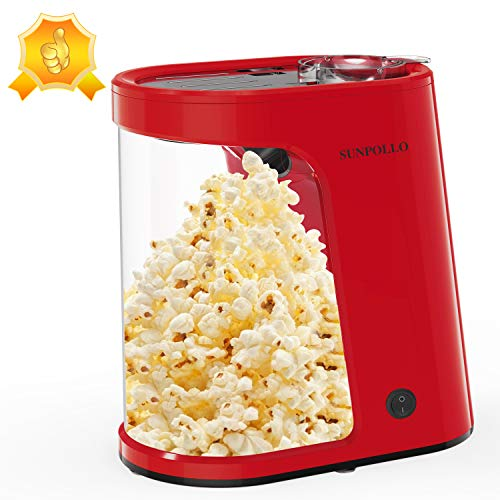 Electric Hot Air Popcorn Maker, Popcorn Machine, 1200W Fast Popcorn Popper with Measuring Cup and Removable Container, Oil-Free, Great for Home Party Kids, Safety ETL Certified