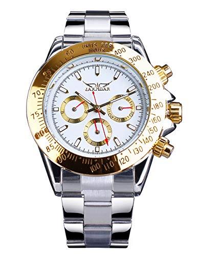 Jaragar Reloj de pulsera mecánico automático de acero inoxidable para hombre con bisel deportivo de lujo de tres esferas