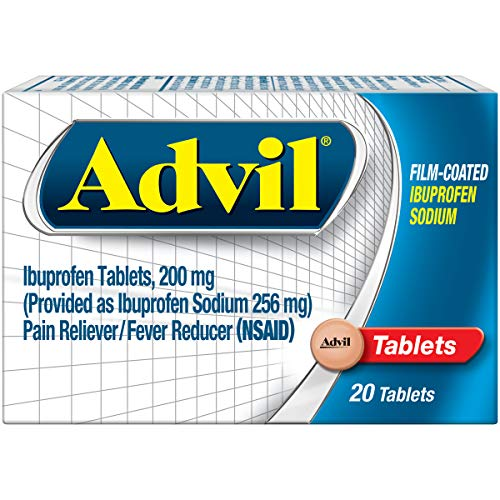 Advil Film Coated Tablets Pain Reliever and Fever Reducer,...